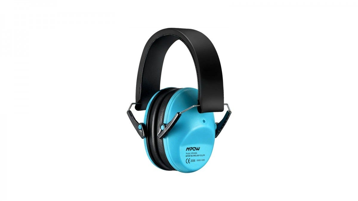 A blue set of Mpow kids hearing protection earmuffs.