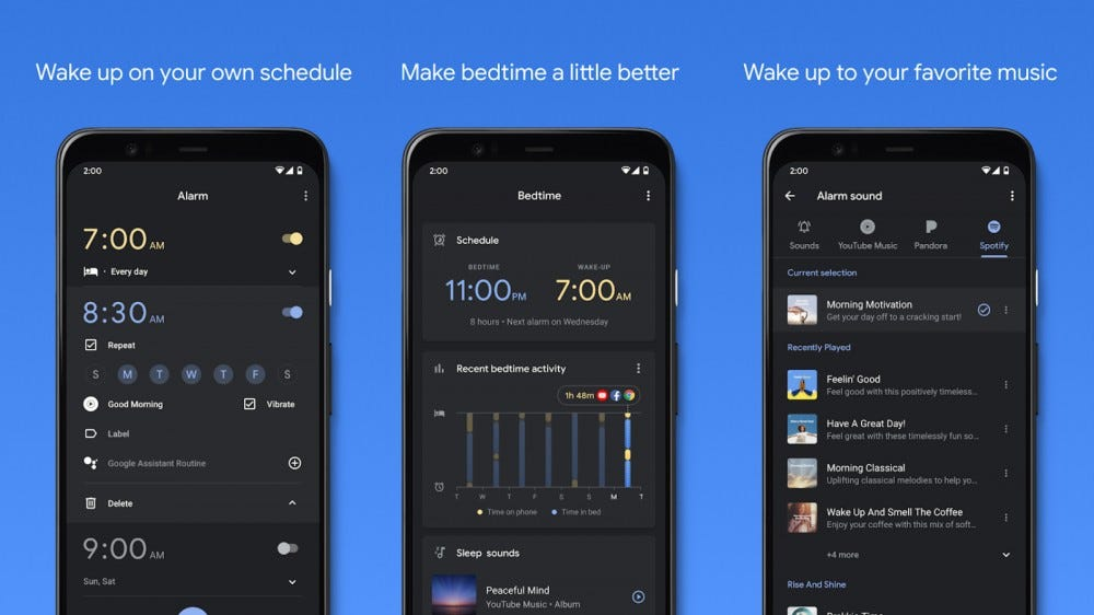 Screenshots of the Clock app in a collage