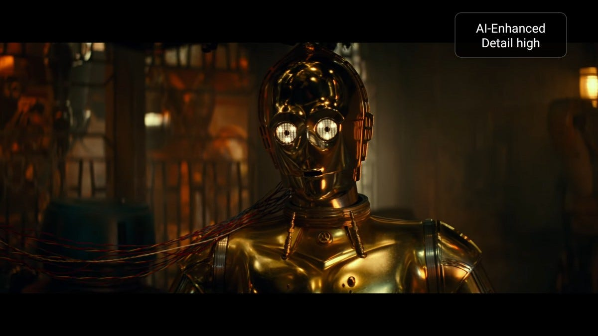 A screenshot of a Star Wars trailer using the AI upscaling effect.