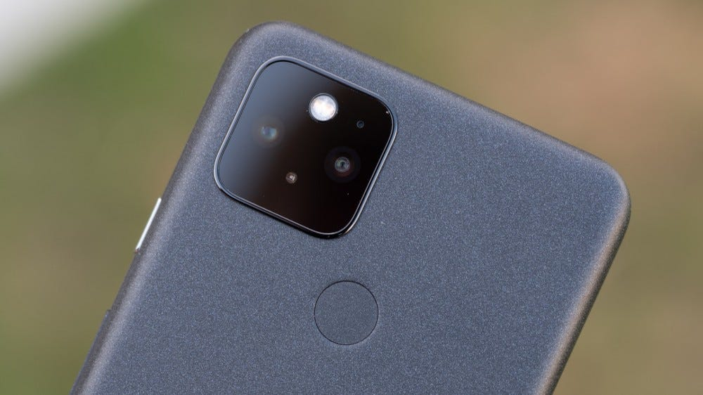 The black Pixel 5's camera and rear fingerprint sensor