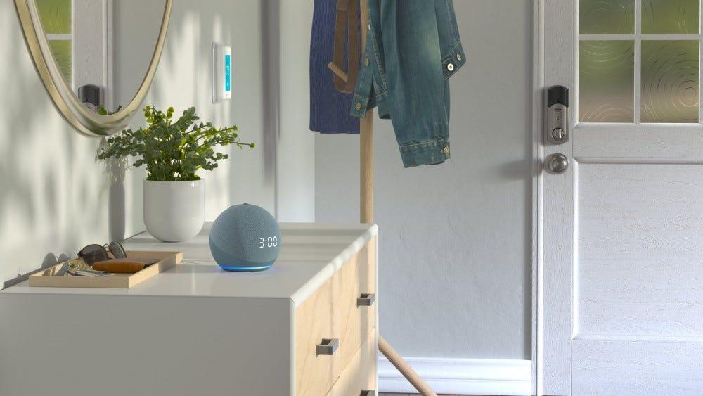 An Amazon Echo Dot 4th Generation on a shelf