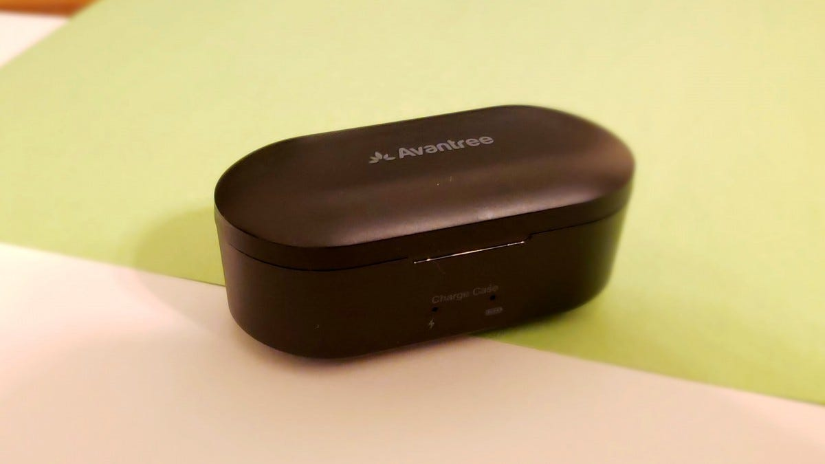 The Avantree TWS115 True Wireless Earbuds' charging case closed and sitting on a table.