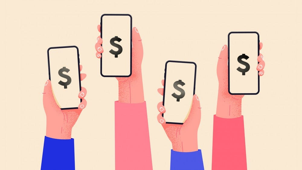 An illustration of hands holding smartphones in the air with cash symbols.