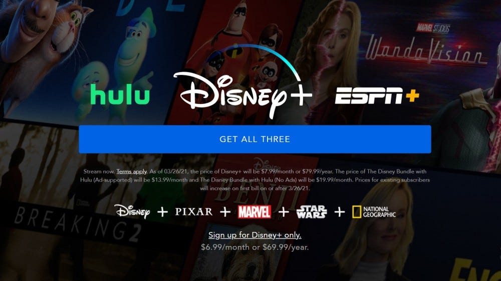 Disney + bejelentkezési képernyő az áremelkedés részleteivel