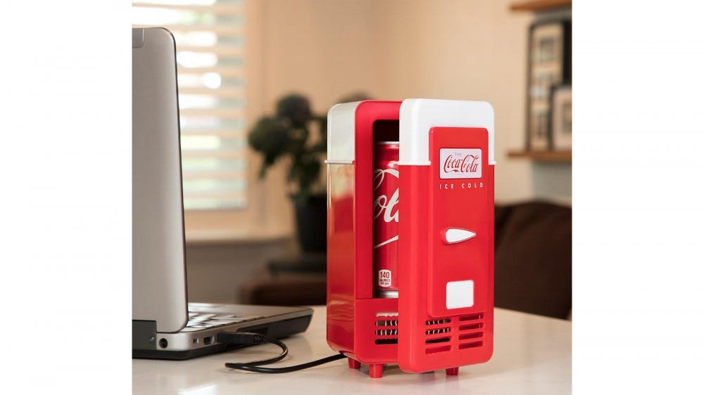 Koolatron desktop mini fridge for a single can of soda