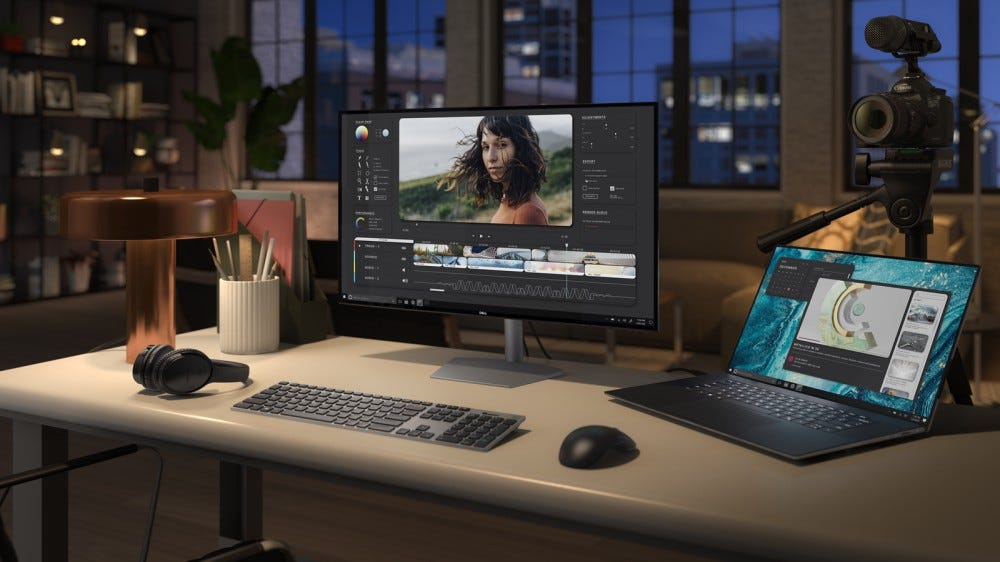 A Dell XPS 17 plugged into a monitor.