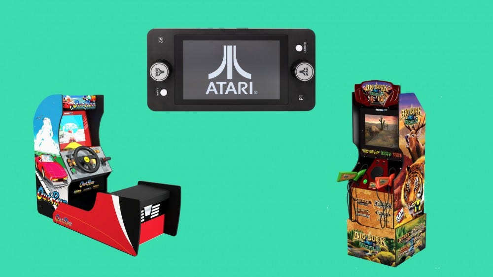 A 'Pong' machine, an 'OutRun' machine and a 'Big Buck World' machine in front of a green background.