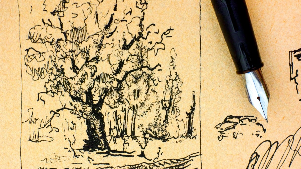 A fountain pen lying on an ink drawing of a tree.