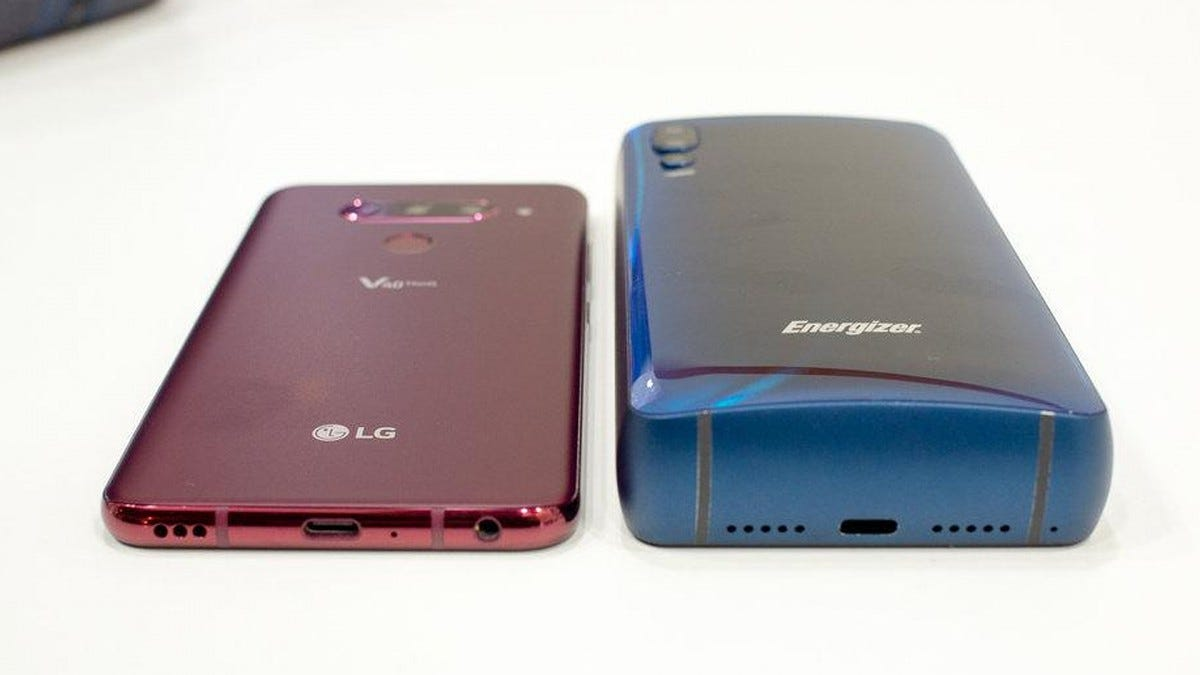 The thick Energizer smart phone next to a thin LG phone