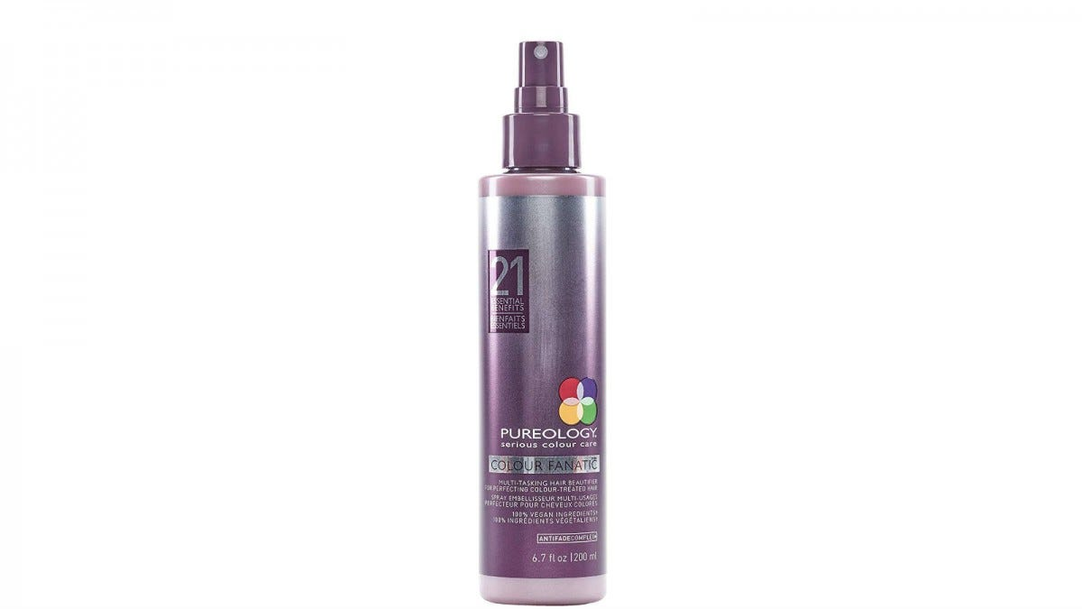 A spray bottle of Pureology Colour Fanatic Leave-In Treatment Spray.