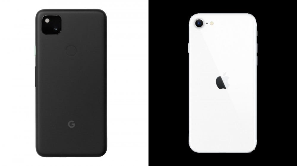 Google Pixel 4a and iPhone SE