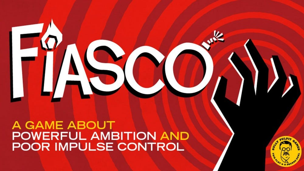 Fiasco game logo with a match, a bomb, and a shadowy hand against a spiraling red background