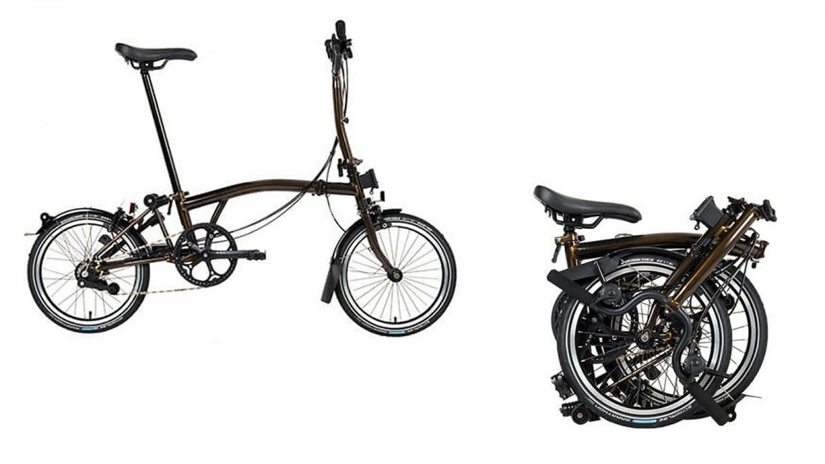The Brompton Folding Bicycle open and folded up.