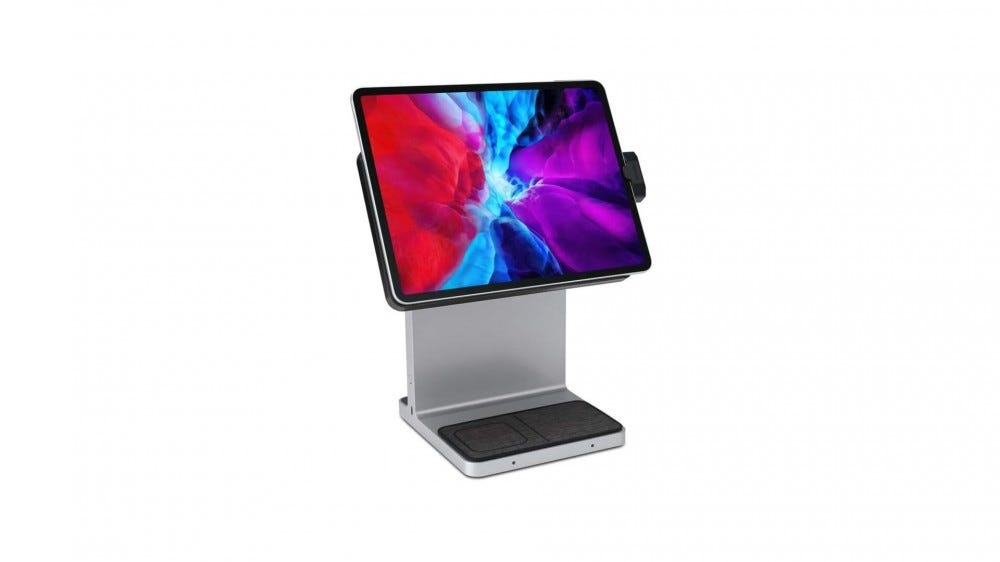 An iPad attached to a stand