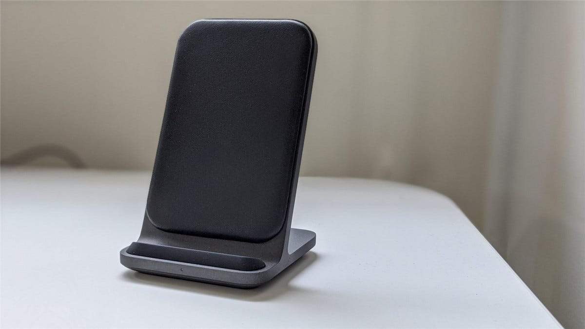 The Nomad Base Station Stand on a white desk