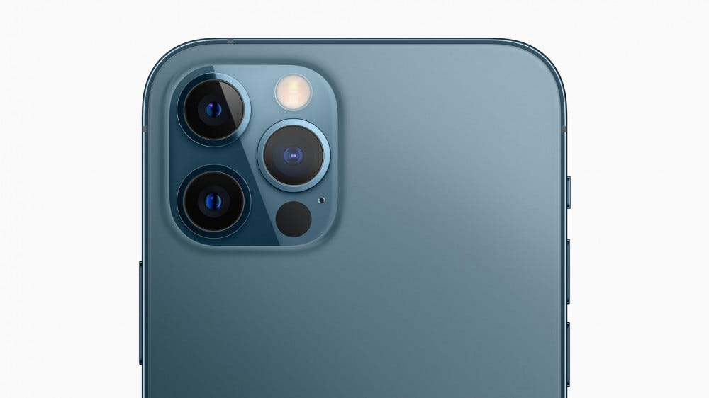 A close-up of the iPhone 12 Pro camera system.
