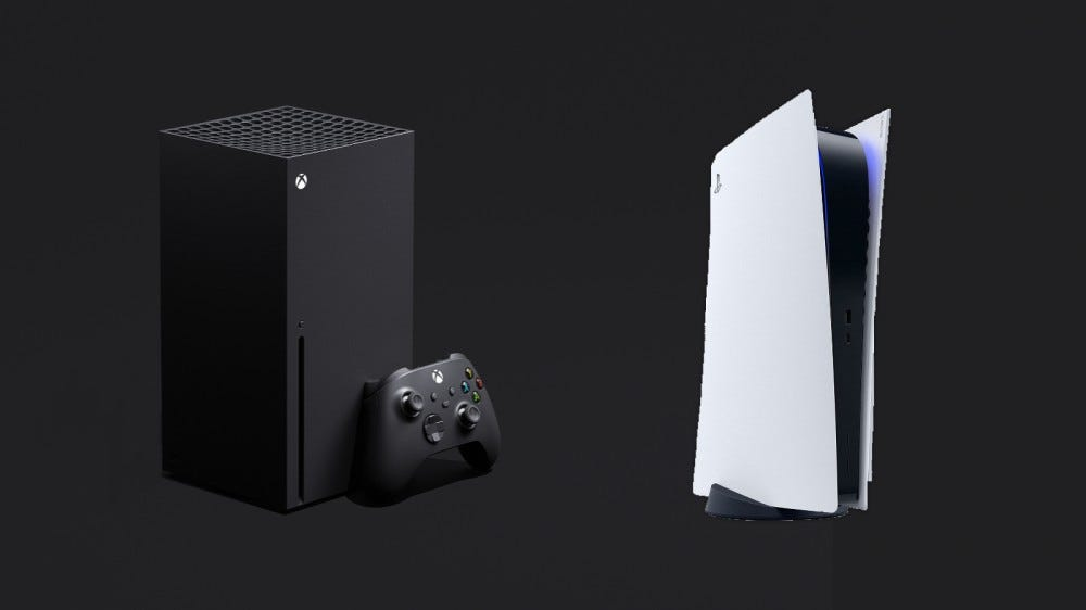 Xbox Series X and PlayStation 5 on gray backdrop