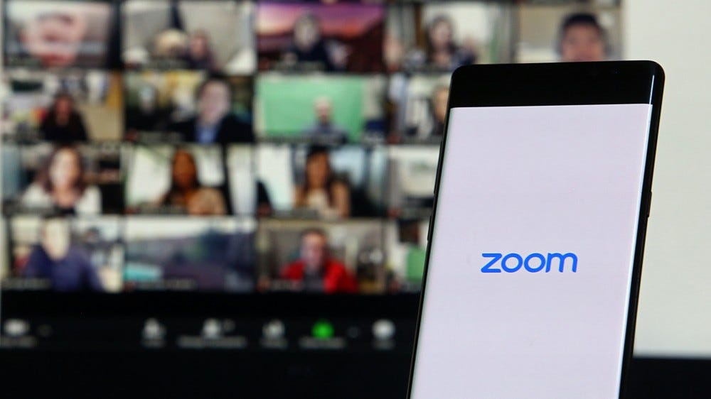 Smartphone with Zoom video conference app