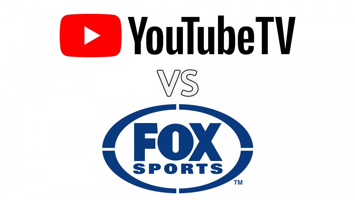 A YouTube TV logo vs a Fox Sports Logo