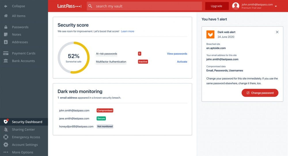 The LastPass Security Dashboard on the web