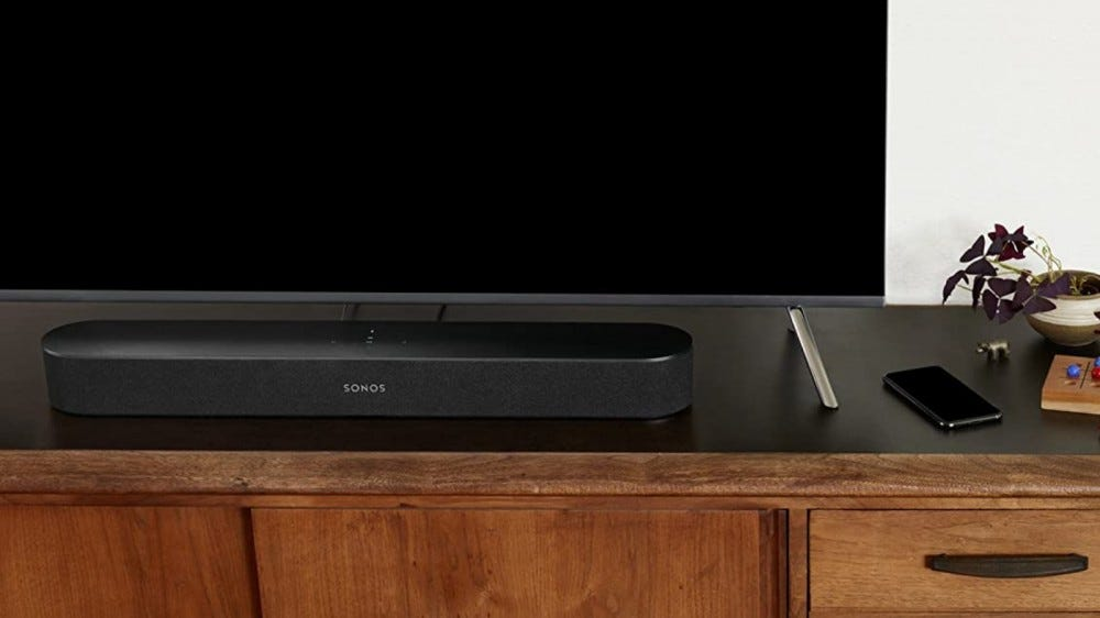 Sonos Beam on entertainment stand