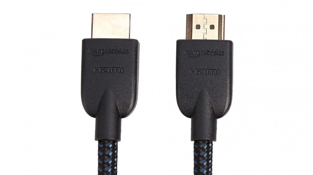 An AmazonBasics HDMI cable.