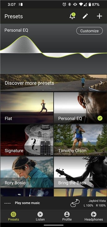 Screenshot of the Jaybird app