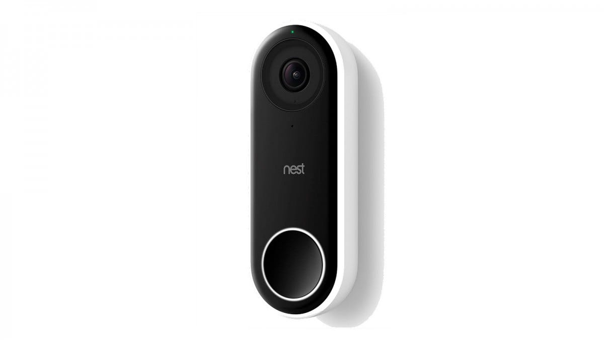 A Nest Hello video doorbell.