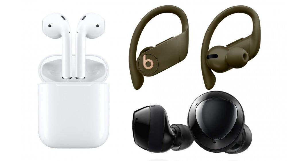 The Apple AirPods, Powerbeats Pro, and Galaxy Buds Plus.