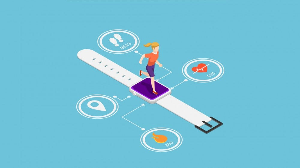 Flat 3d isometric woman running on smartwatch with heart rate monitors, calorie counting, steps counting and gps technology function.