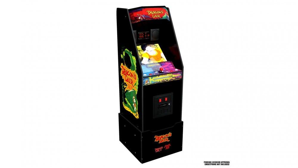 A full-sized 'Dragon's Lair' arcade machine.