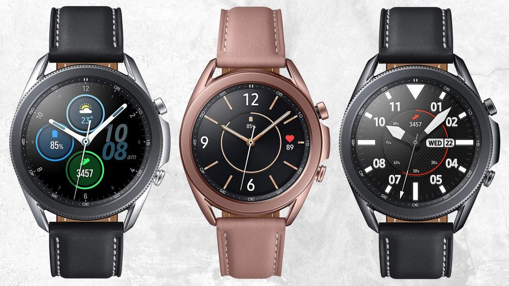 Three Samsung Galaxy Watch 3 models against a white grunge wall background