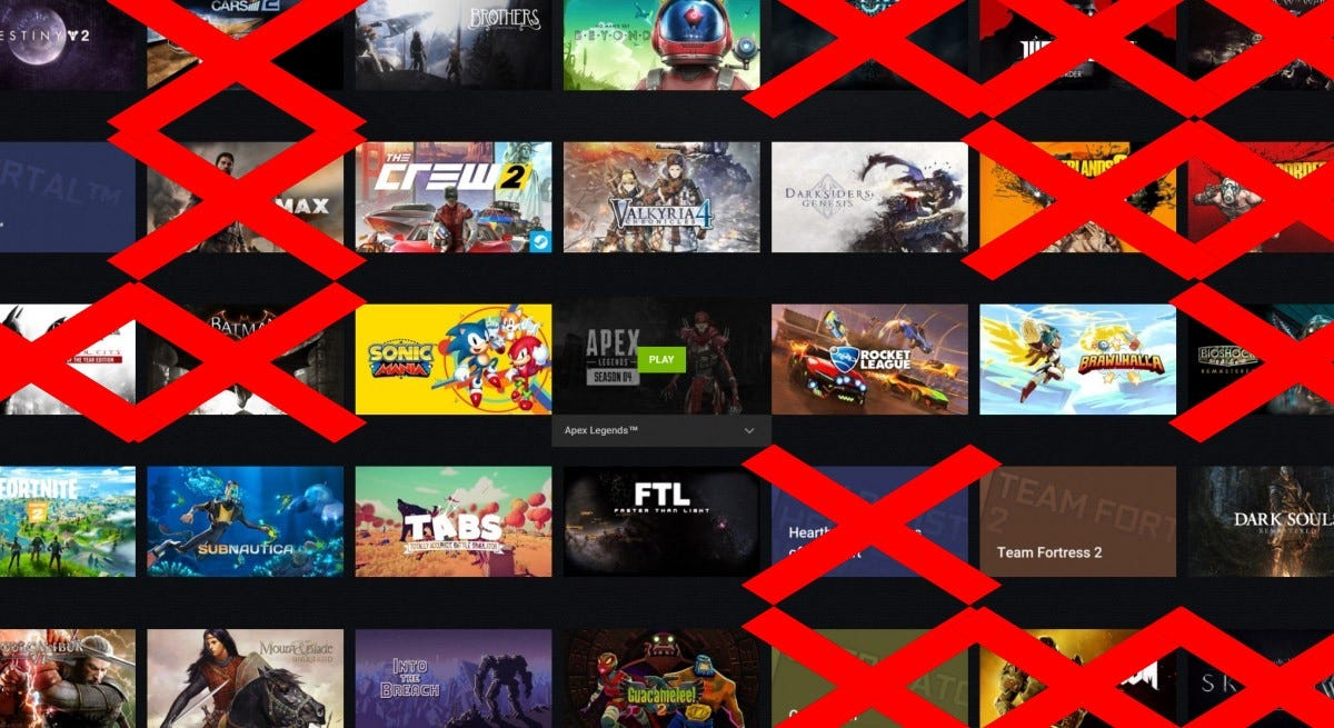 GeForce Now screenshot with unavailable games removed.
