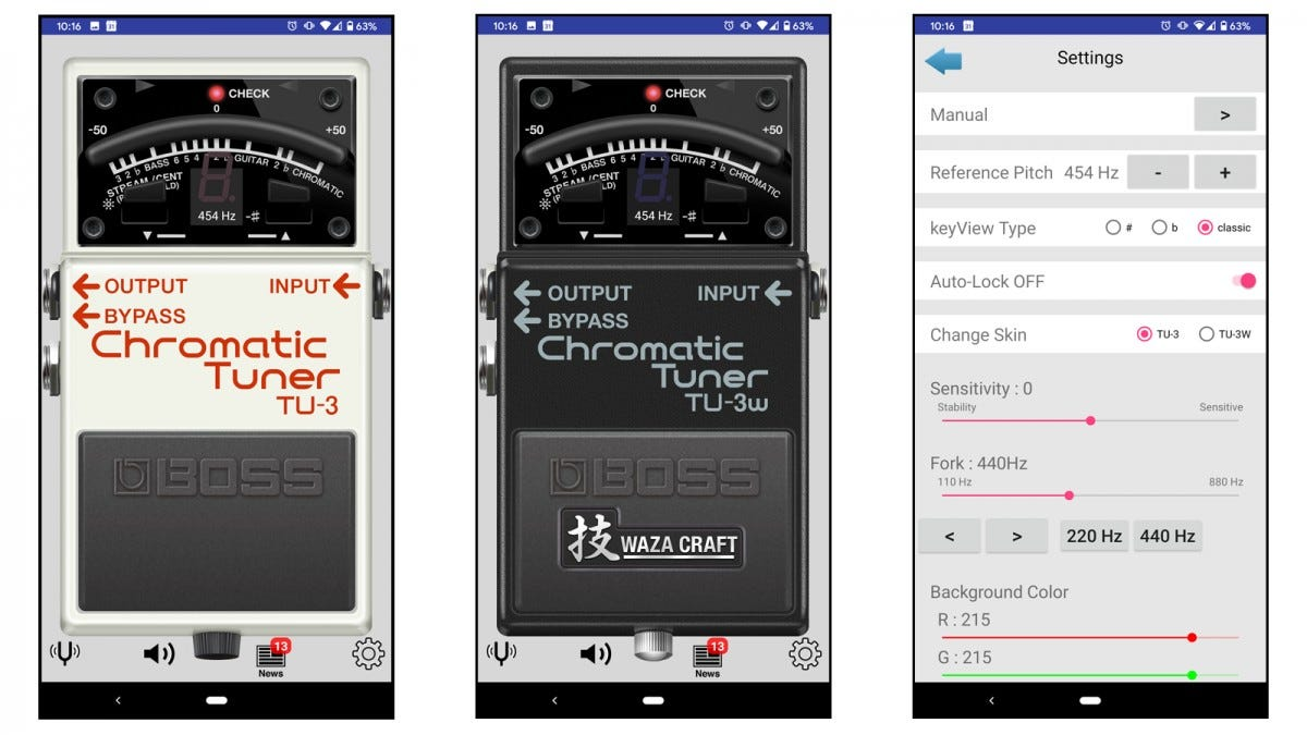 Boss Tuner app screenshots