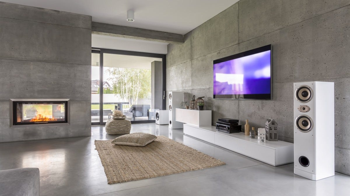 A sleek, elegant home theater setup