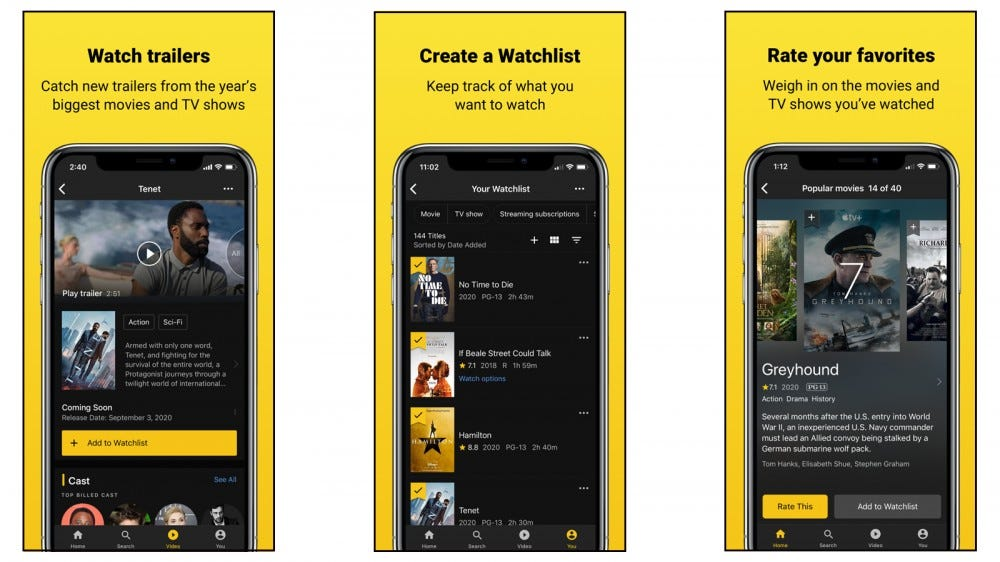 IMDB app with IMDBtv and more features