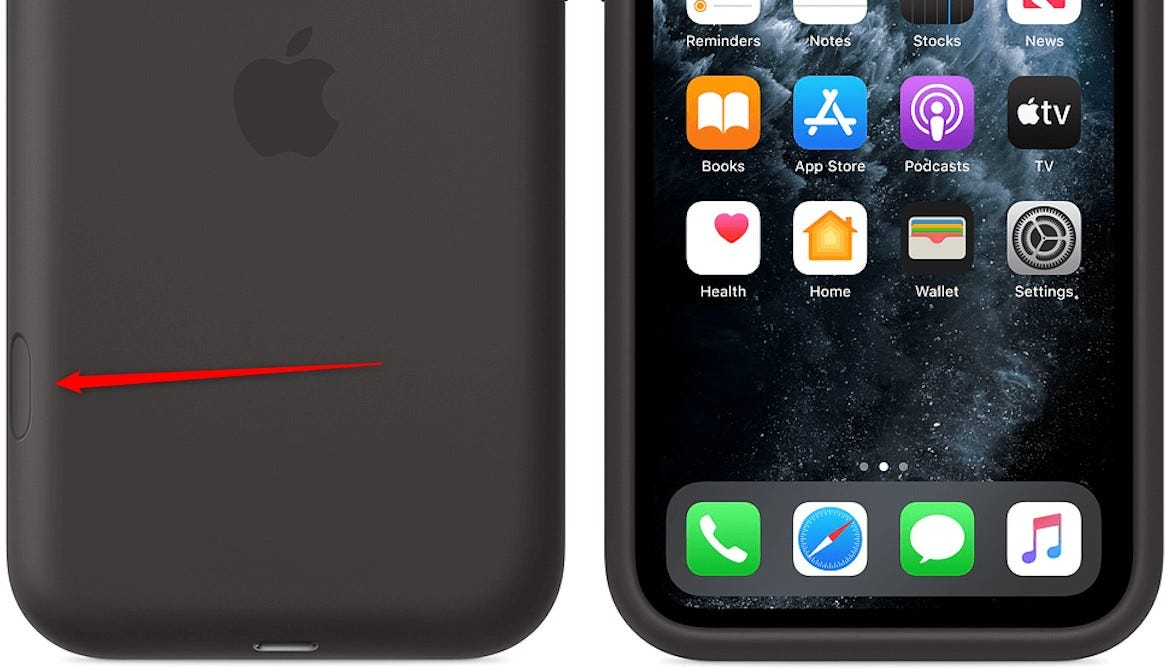 iPhone 11 Pro case showing the camera button