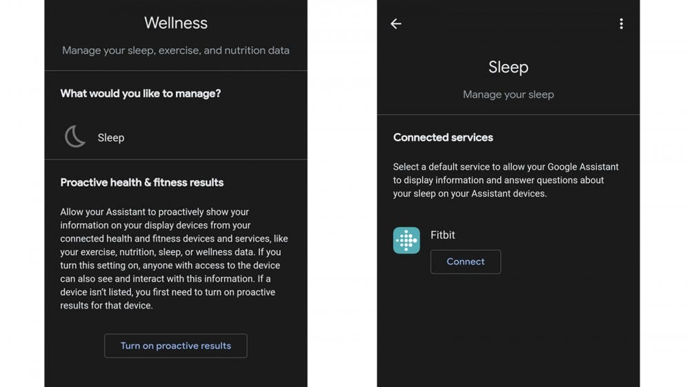 Google Assistant Wellness section