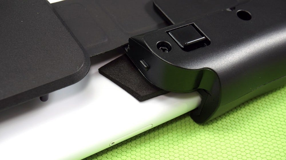 Close-up of foam padding added to controller by reviewer