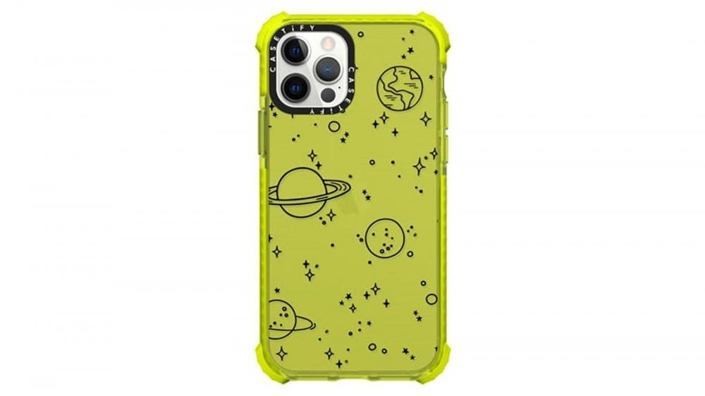 CASETiFY Universe iPhone 12 case yellow with planetary object outlines