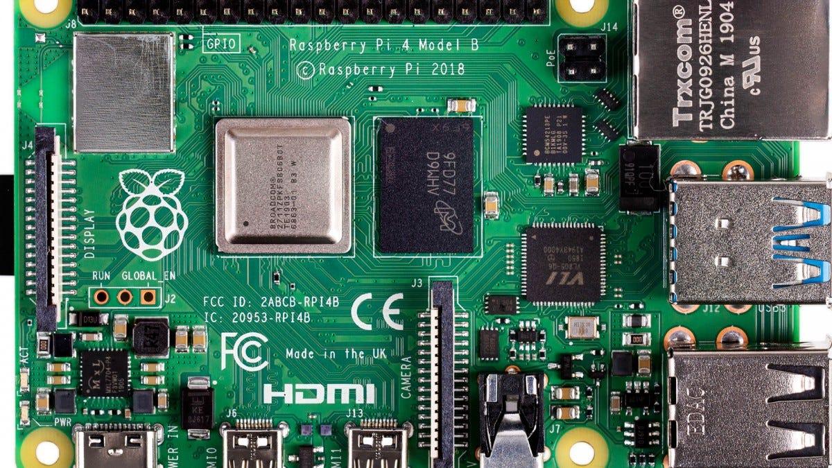 The Raspberry Pi 4 Model B.