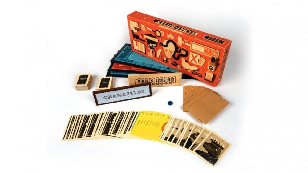 Secret Hitler render with box art, cards, and the board