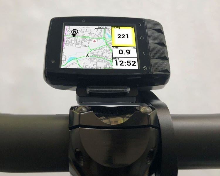 The Stages Dash M50 installed in landscape mode