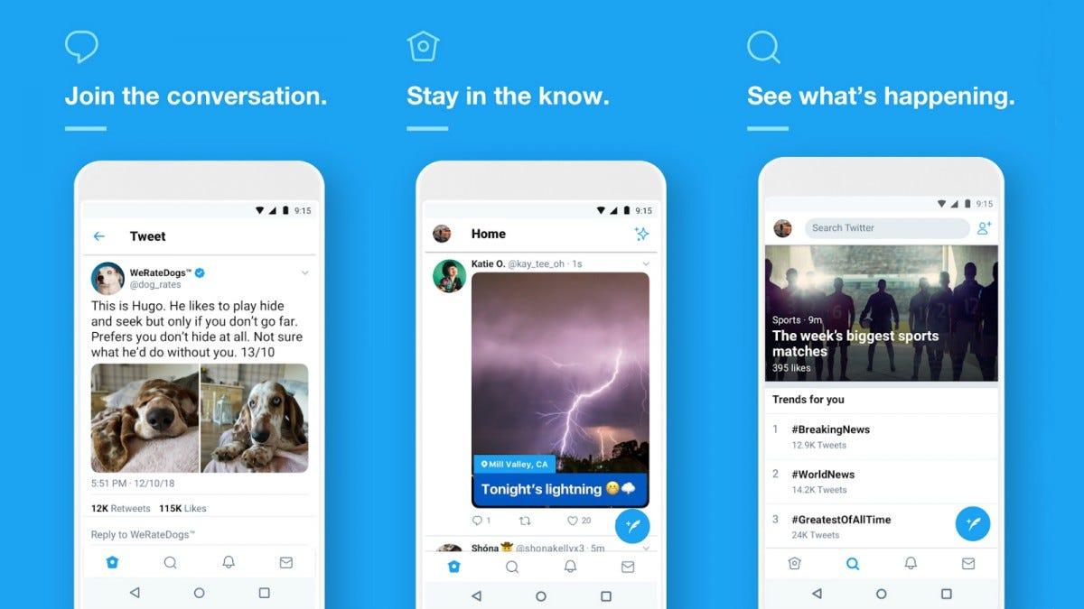 Several screenshots of the Twitter app