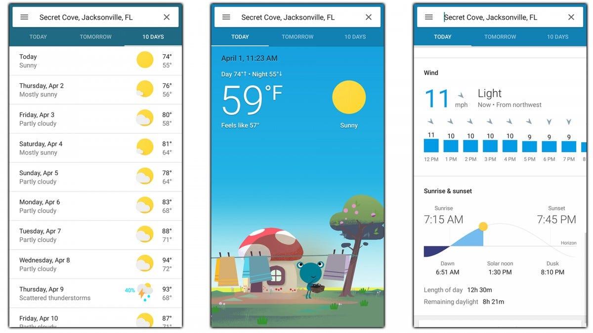 Screenshots of the Google Weather app.