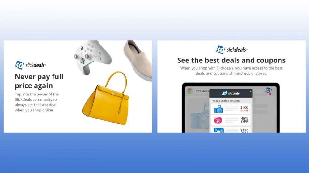 SlickDeals Chrome browser extension that shows great deals on products such as clothing, games and accessories