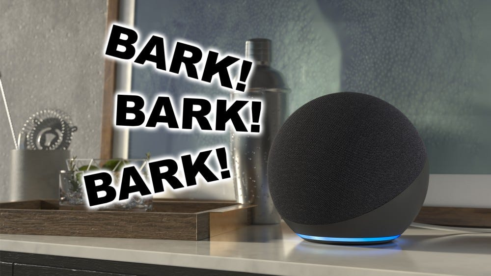 An illustration of the smart Echo speaker that barks like a watchdog.
