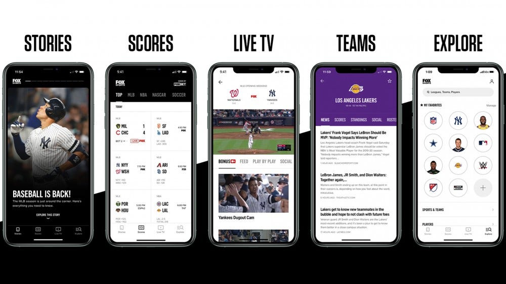 Screenshots of the updated FOX Sports app with Stories, Live TV, Scores, and more.