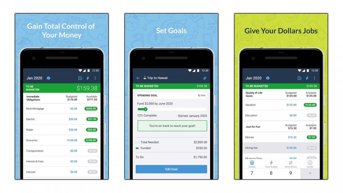Screenshots of the YNAB app.