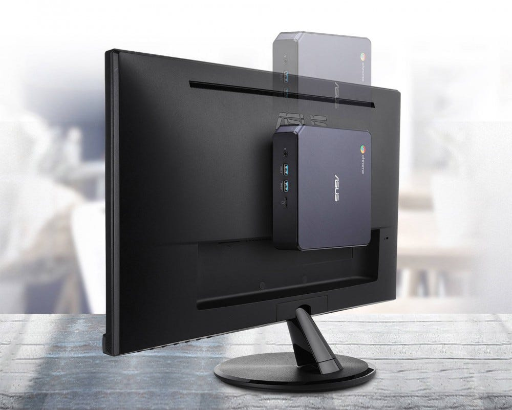 Showing the Chromebox 4's vesa mount on a monitor
